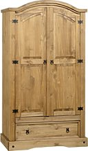 Corona 2 Door 1 Drawer Wardrobe in Pine - Seconique