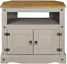 Corona Grey Wax TV Cabinet Corner, Solid Pine