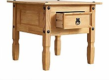Corona Lamp Table with 1 Drawer Solid Pine Wood