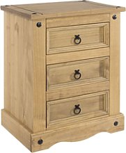 Corona Pine Bedside Cabinet 3 Drawer Bedroom Side