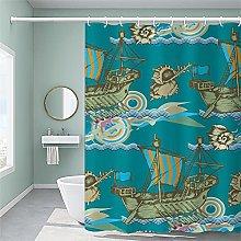 Corsair bathroom shower curtain with 12 Hooks-for