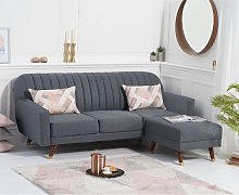 Corwin Linen Sofa Bed In Grey With Angled Solid
