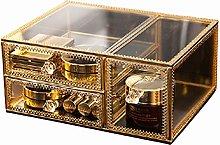 Cosmetic Storage Box, Glass Cover Jewelry, Jewelry