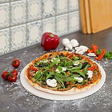 CosmoGrill Pizza Stone 30 cm Diameter for Baking Oven & Barbecue BBQ Round - Beige