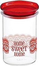 COSMOPLAST HomeSweetHome Jar, 1Lt, Plastic, red,
