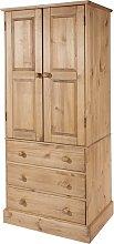 Costa Narrow Wooden Wardrobe In Antique Wax Finish