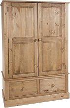 Costa Wide Wooden Wardrobe In Antique Wax Finish