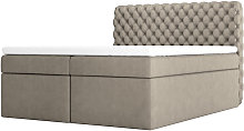 Costmary - Modern Bed with Linen Storage and Taupe