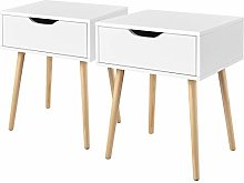 Costoffs 2PCs Bedside Table Wooden Nightstand