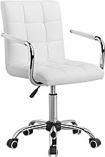 Costoffs PU Leather White Office Chair Adjustable