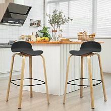 COSTWAY 2PCS Bar Chair Set, Modern Breakfast Stool
