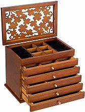 COSTWAY 6 Layers Wooden Carved Jewellery Box, High