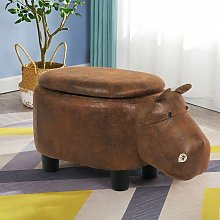Costway - Animal Storage Ottoman Foot Rest Stool Padded Seat Upholstered Ride-on Ottomans