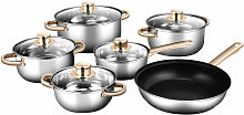 COSTWAY Cookware Set, 6 Pieces Stainless Steel