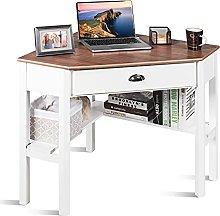 COSTWAY Corner Desk, Wooden Computer Desk PC
