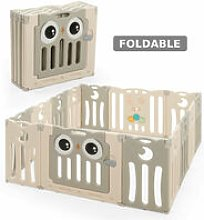 COSTWAY Foldable 14 Panel Baby Playpen Kids Safety