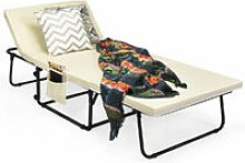 COSTWAY Folding Lounge Chair Convertible Spong