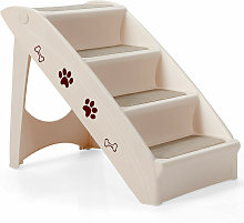Costway - Folding Portable Pet Stairs 4 Step Dog