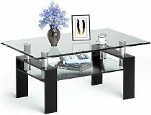 Costway - Glass Coffee Tea Table Modern Clear Home
