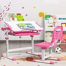 Costway - Height Adjustable Kids Study Desk Chair