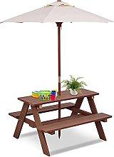 COSTWAY Kids Picnic Table, Garden Wooden Bench
