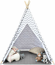 COSTWAY Kids Teepee Tent with Floor Mat and Carry