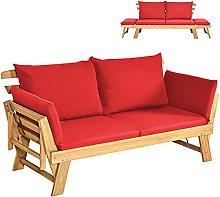 COSTWAY Outdoor Sofa Bed, 3 in 1 Convertible