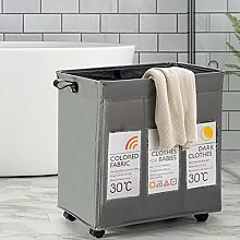 COSTWAY Rolling Laundry Basket with 3 Compartments