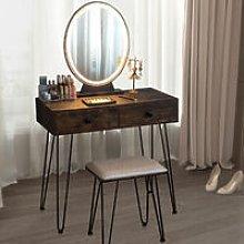 Costway - Vanity Makeup Dressing Table Stool Set