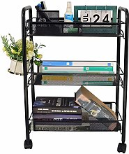 COSWE 3-Tier Metal Mesh Storage Rolling Cart