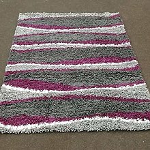 COSY Grey Purple 160x230cm Shaggy Rugs Non Shed
