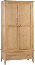 Cotswold Wardrobe In Oak With 2 Doors And 1 Drawer