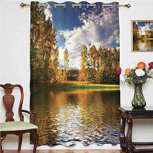 Cottage Decor Blackout Curtain Landscape of Forest