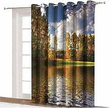 Cottage Decor Sliding Door Curtain Landscape of
