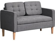 Cotton 2 Seater Storage Sofa Compact Loveseat w/