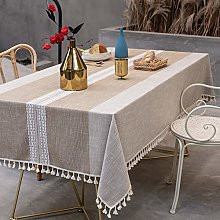 Cotton and Linen Round Table Cloth Waterproof and