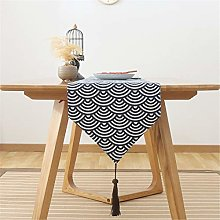 Cotton And Linen Table Runner, Plaid Printing,