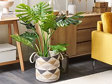 Cotton Basket Laundry Bin Beige Triangle Pattern