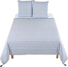 Cotton Bedding Set with Blue Motifs 240x260