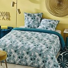 Cotton Bedding Set with Tropical Foliage Print