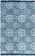 Cotton Beige Rug by Bloomsbury Market - Blue