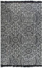Cotton Black/White Rug by Bloomsbury Market - Grey