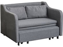 Cotton Blend Extending Loveseat Futon Sofa Bed