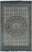 Cotton Blue Rug by Bloomsbury Market - Grey
