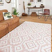 Cotton Blush Pink Flat-Weave Hi-Low Pile Tufted