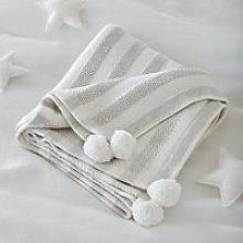 Cotton-Cashmere Striped Blanket, White Grey, One Size