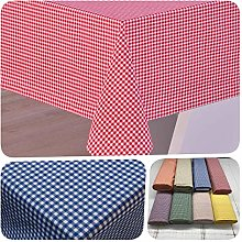 Cotton Gingham Tablecloth (Orange, 140x200 cm Oval)