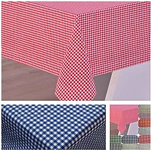 Cotton Gingham tablecloth (Red, 140x140 cm)
