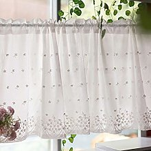 Cotton Half Curtain White Embroidery Kitchen Cafe