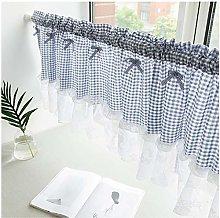 Cotton Kitchen Curtain blue Checkered cafe Window